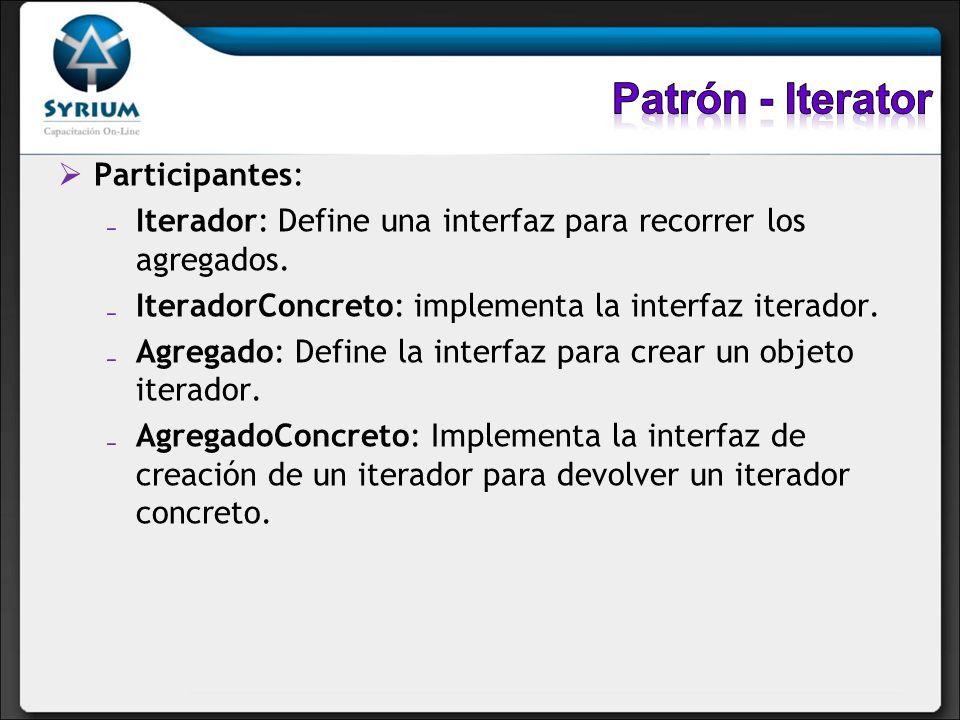 Patrón - Iterator Participantes:
