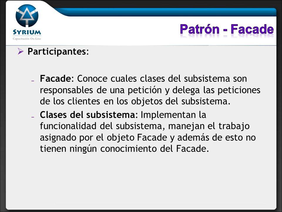 Patrón - Facade Participantes: