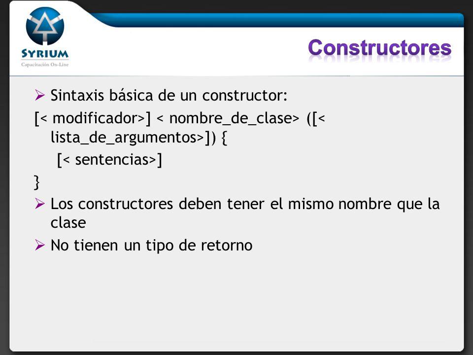 Constructores Sintaxis básica de un constructor: