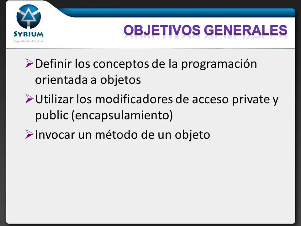 Definir los conceptos de la programación orientada a objetos