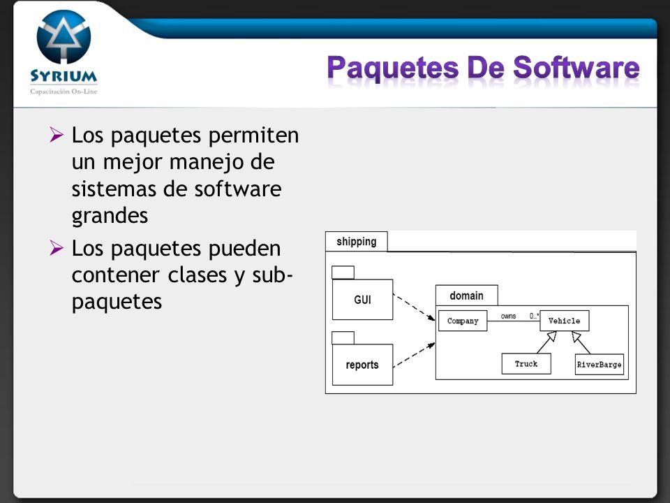 Paquetes De Software Los paquetes permiten un mejor manejo de sistemas de software grandes. Los paquetes pueden contener clases y sub- paquetes.