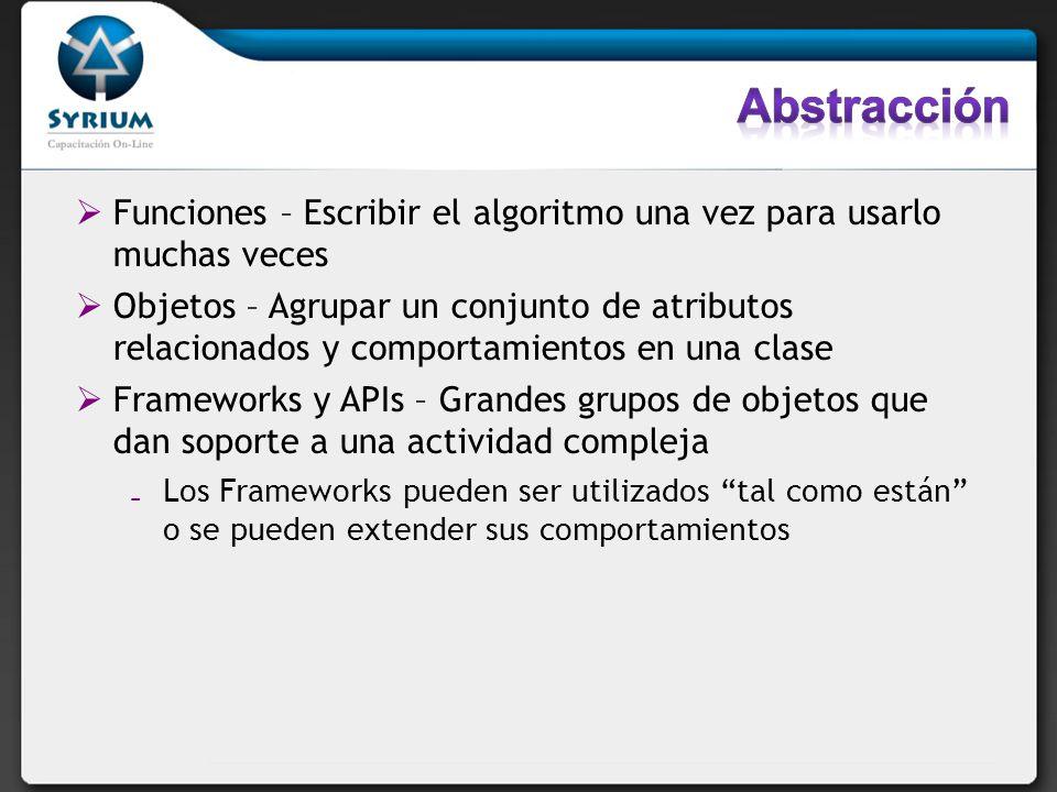Abstracción Funciones – Escribir el algoritmo una vez para usarlo muchas veces.