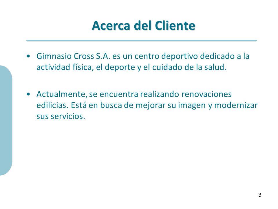 Acerca del Cliente Gimnasio Cross S.A. es un centro deportivo dedicado a la actividad física, el deporte y el cuidado de la salud.