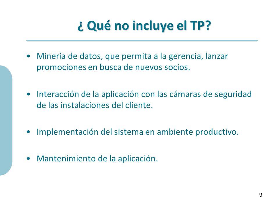 ¿ Qué no incluye el TP Minería de datos, que permita a la gerencia, lanzar promociones en busca de nuevos socios.