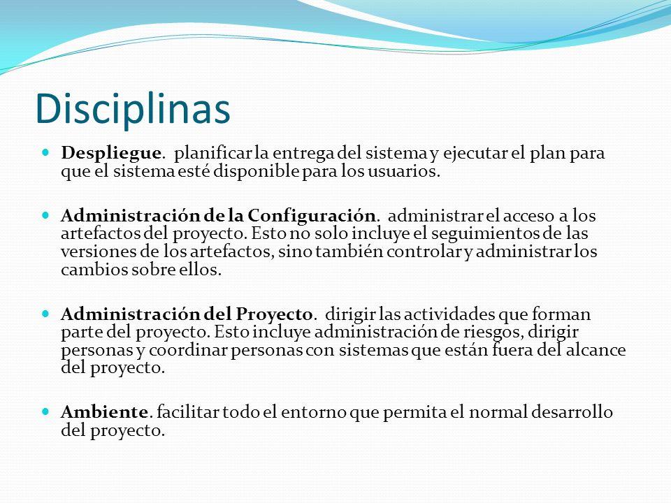 Disciplinas Despliegue. planificar la entrega del sistema y ejecutar el plan para que el sistema esté disponible para los usuarios.