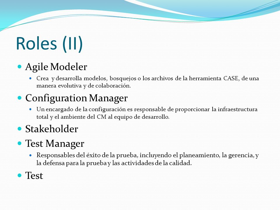 Roles (II) Agile Modeler Configuration Manager Stakeholder