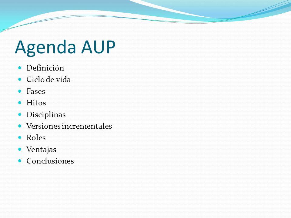 Agenda AUP Definición Ciclo de vida Fases Hitos Disciplinas