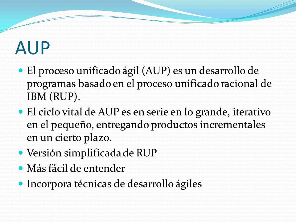 AUP El proceso unificado ágil (AUP) es un desarrollo de programas basado en el proceso unificado racional de IBM (RUP).