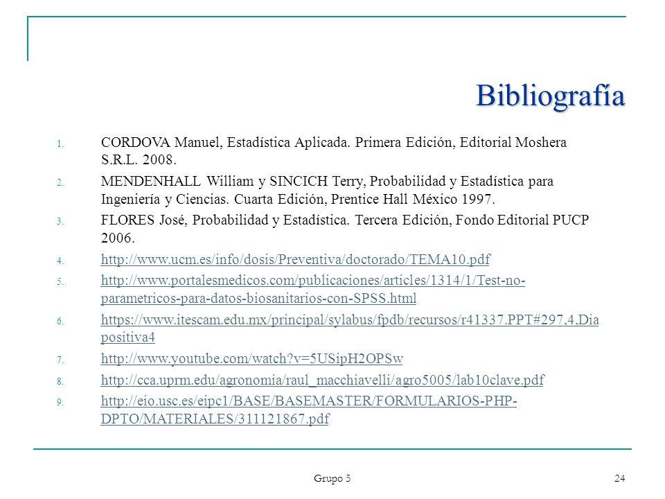BibliografíaCORDOVA Manuel, Estadística Aplicada. Primera Edición, Editorial Moshera S.R.L. 2008.