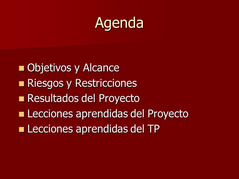 Agenda Objetivos y Alcance Riesgos y Restricciones