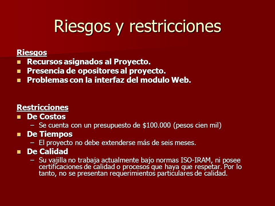 Riesgos y restricciones