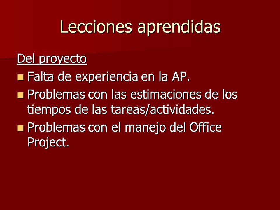 Lecciones aprendidas Del proyecto Falta de experiencia en la AP.