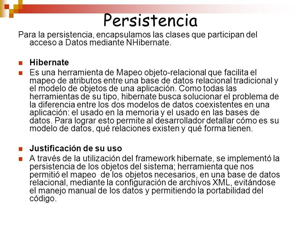 PersistenciaPara la persistencia, encapsulamos las clases que participan del acceso a Datos mediante NHibernate.