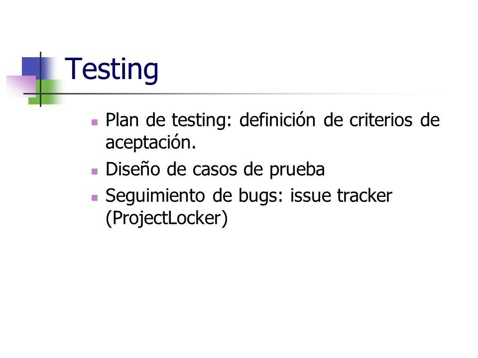 Testing Plan de testing: definición de criterios de aceptación.