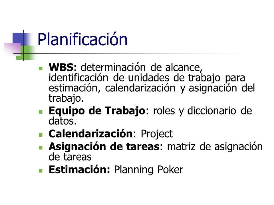 PlanificaciónWBS: determinación de alcance, identificación de unidades de trabajo para estimación, calendarización y asignación del trabajo.