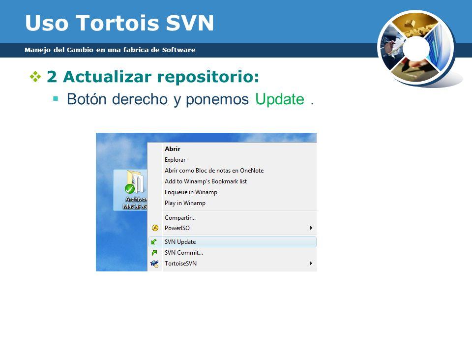 Uso Tortois SVN 2 Actualizar repositorio: