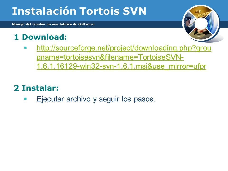 Instalación Tortois SVN