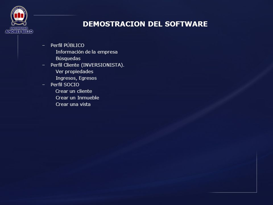 DEMOSTRACION DEL SOFTWARE