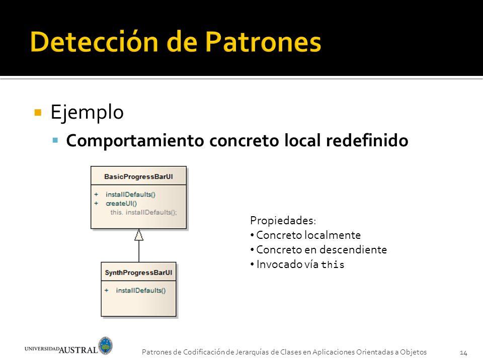Detección de Patrones Ejemplo Comportamiento concreto local redefinido
