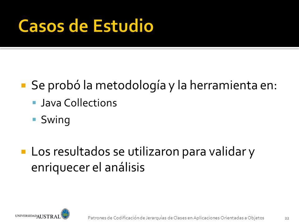 Casos de Estudio Se probó la metodología y la herramienta en: