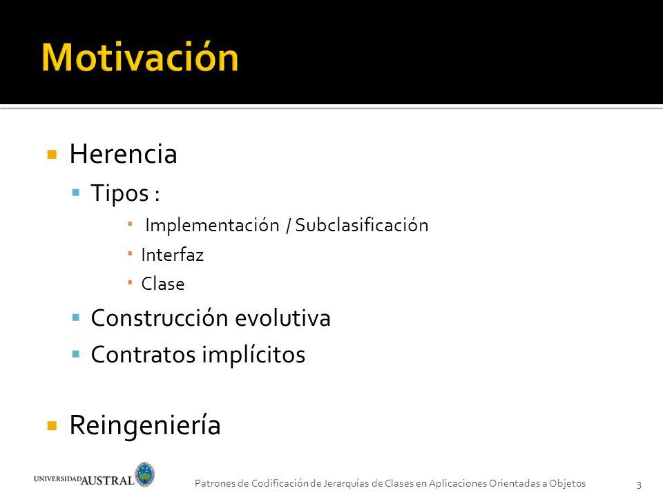 Motivación Herencia Reingeniería Tipos : Construcción evolutiva
