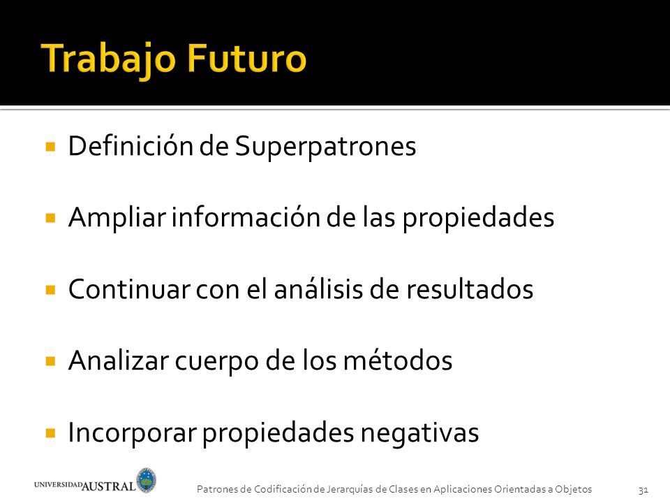Trabajo Futuro Definición de Superpatrones