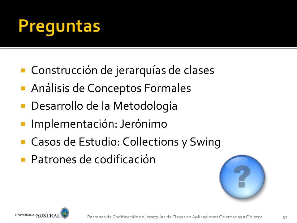 Preguntas Construcción de jerarquías de clases