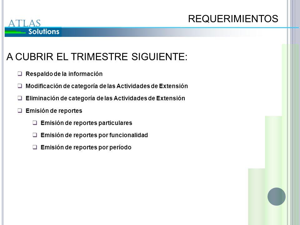 A CUBRIR EL TRIMESTRE SIGUIENTE: