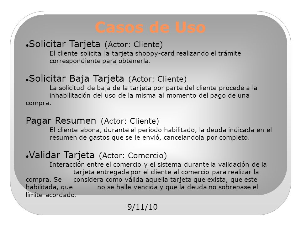 Casos de Uso Solicitar Tarjeta (Actor: Cliente)
