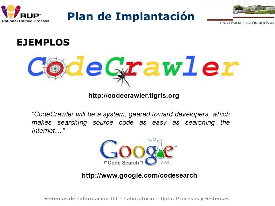 EJEMPLOS http://codecrawler.tigris.org
