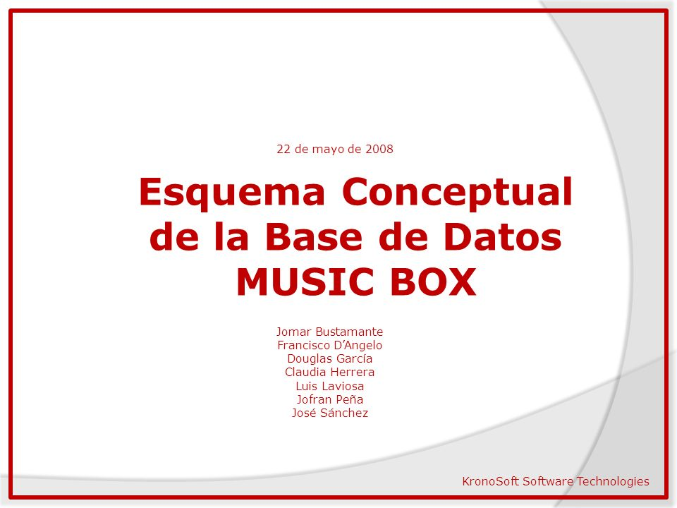 Esquema Conceptual de la Base de Datos MUSIC BOX