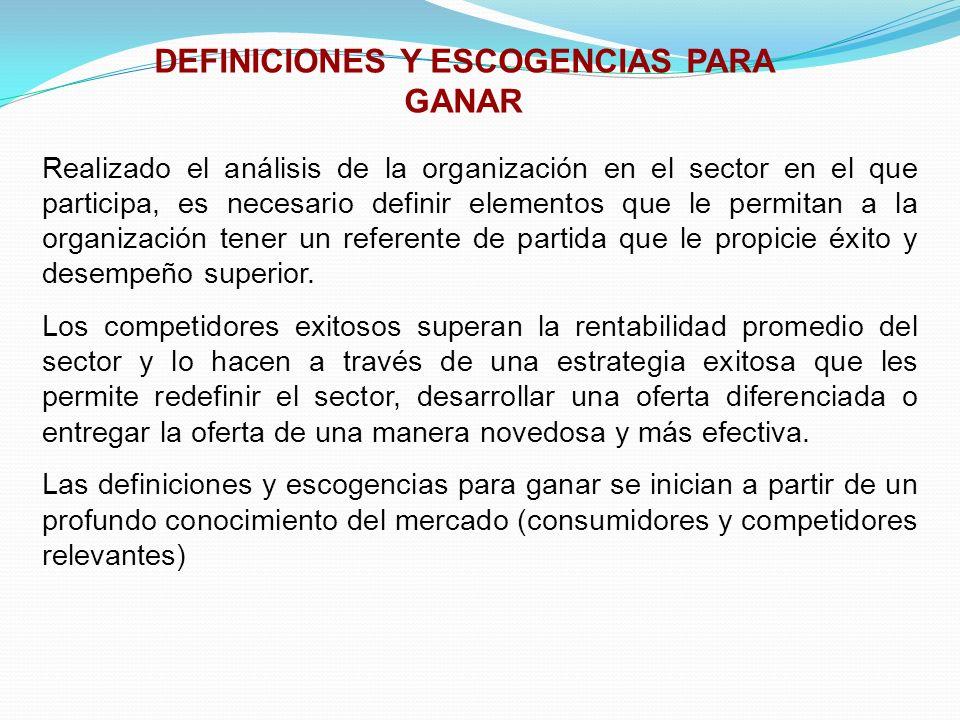 DEFINICIONES Y ESCOGENCIAS PARA GANAR