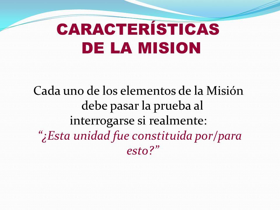 CARACTERÍSTICAS DE LA MISION