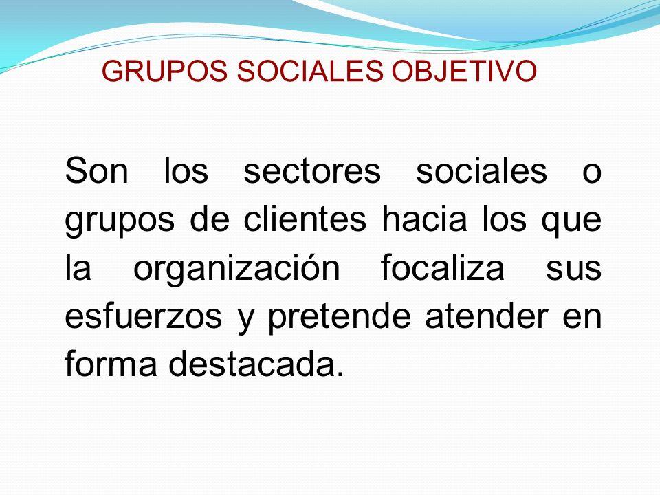 GRUPOS SOCIALES OBJETIVO