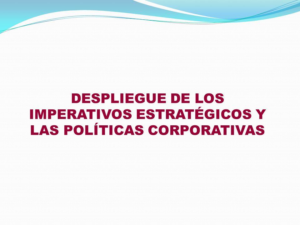 DESPLIEGUE DE LOS IMPERATIVOS ESTRATÉGICOS Y LAS POLÍTICAS CORPORATIVAS