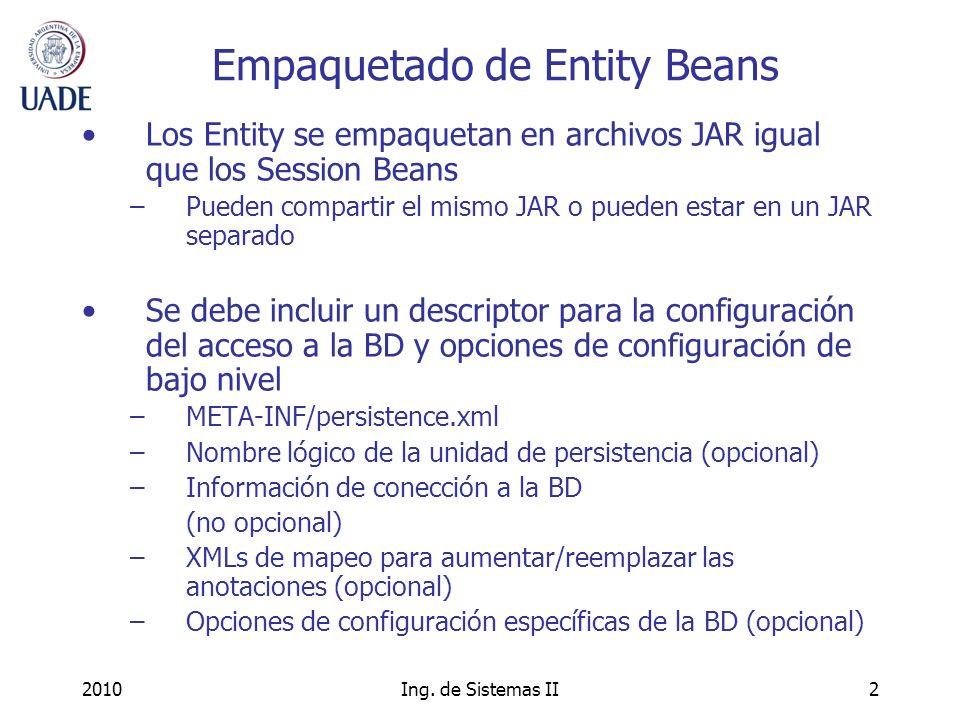 Empaquetado de Entity Beans