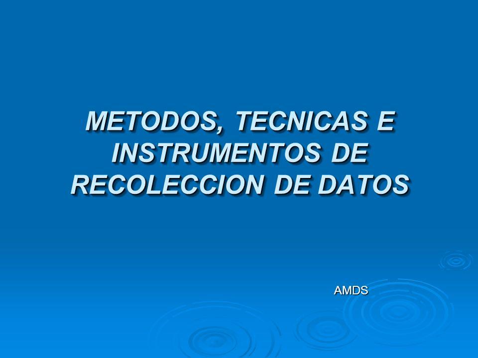 METODOS, TECNICAS E INSTRUMENTOS DE RECOLECCION DE DATOS
