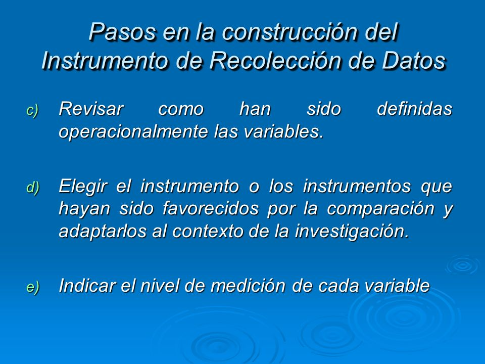 Pasos en la construcción del Instrumento de Recolección de Datos
