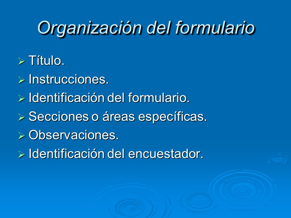 Organización del formulario