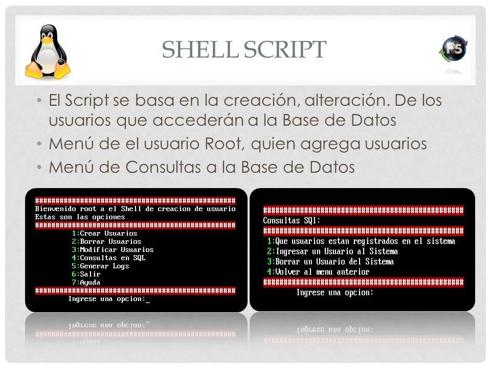 Shell Script El Script se basa en la creación, alteración. De los usuarios que accederán a la Base de Datos.