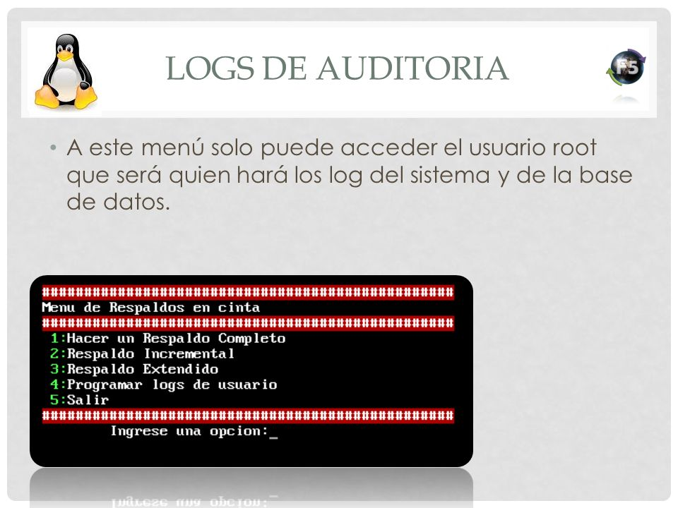 Logs de auditoria A este menú solo puede acceder el usuario root que será quien hará los log del sistema y de la base de datos.