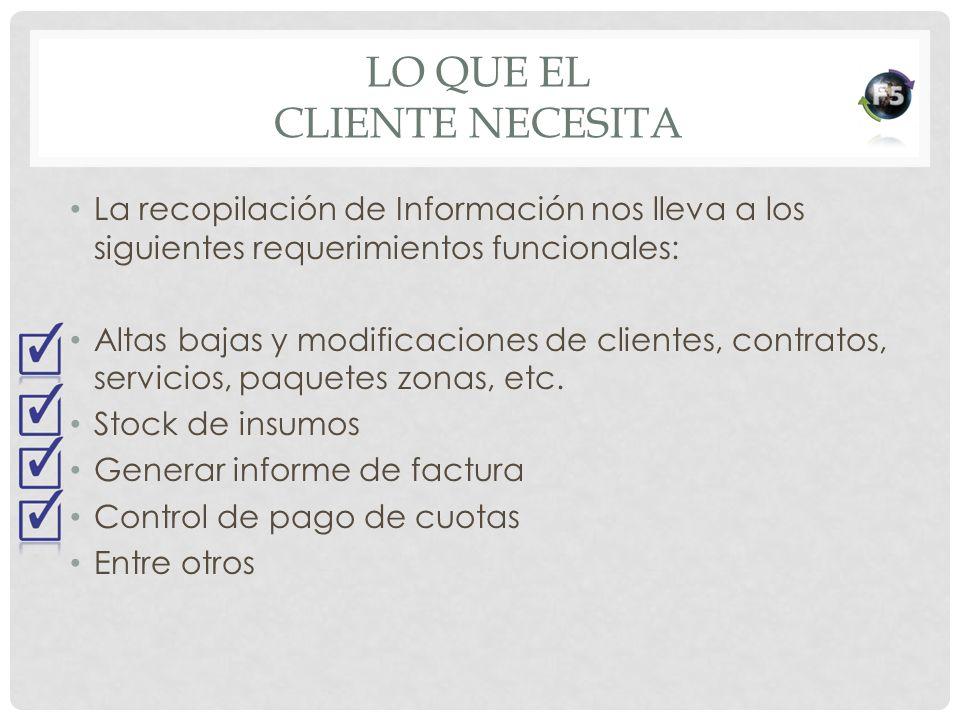 Lo que el cliente necesita