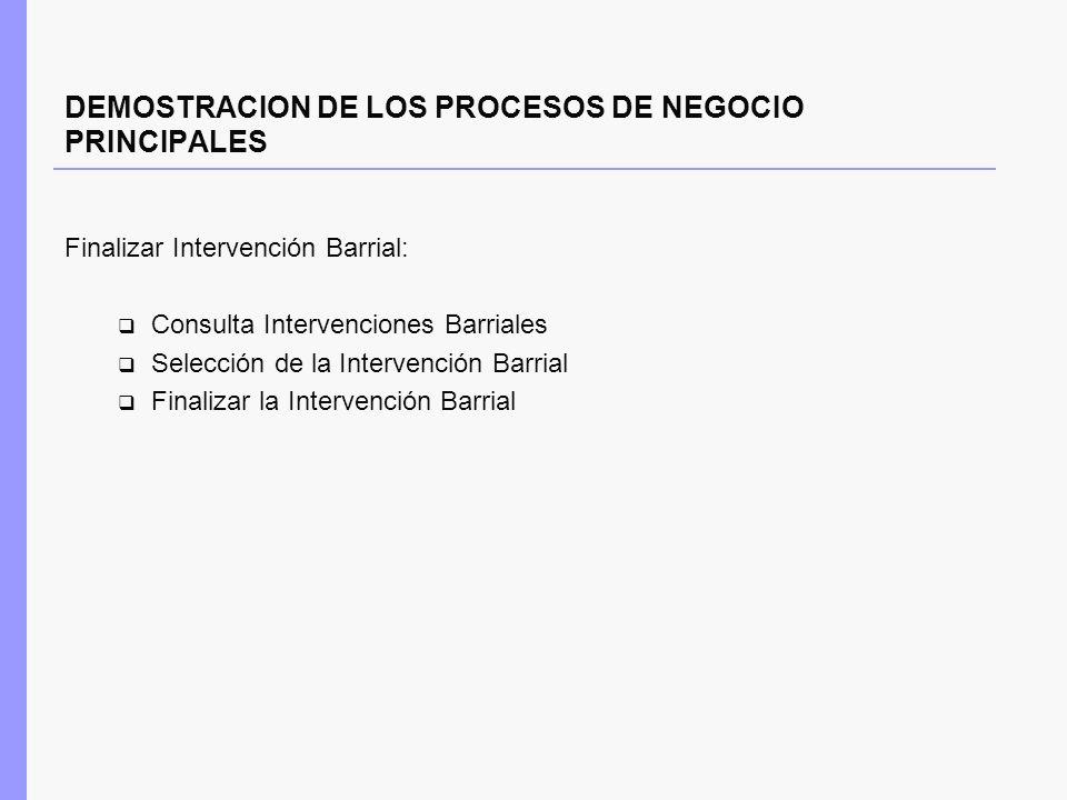 DEMOSTRACION DE LOS PROCESOS DE NEGOCIO PRINCIPALES