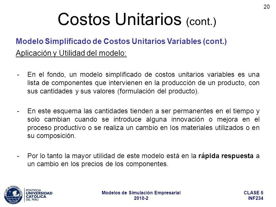 Modelo Simplificado de Costos Unitarios Variables (cont.)
