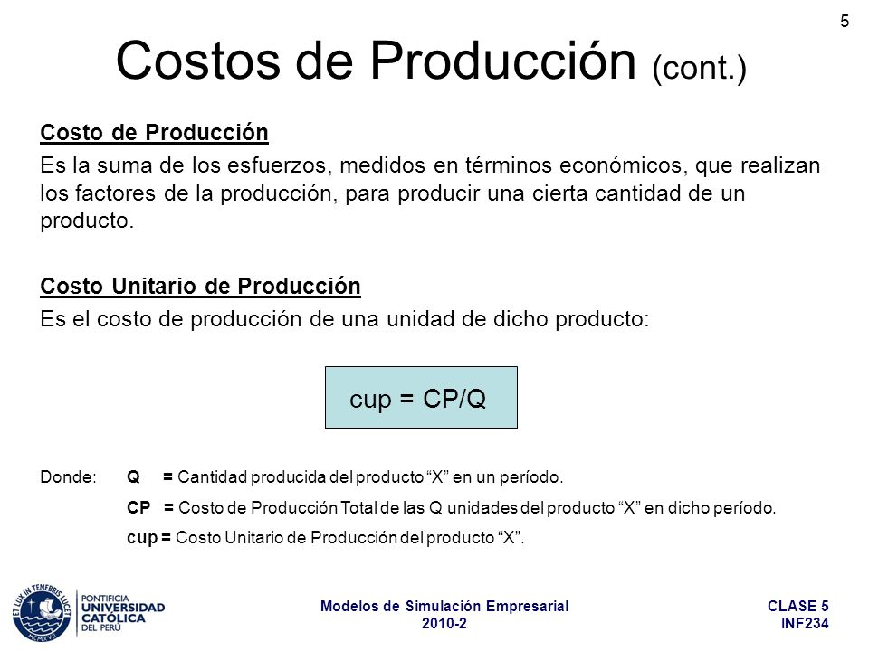 Costos de Producción (cont.)