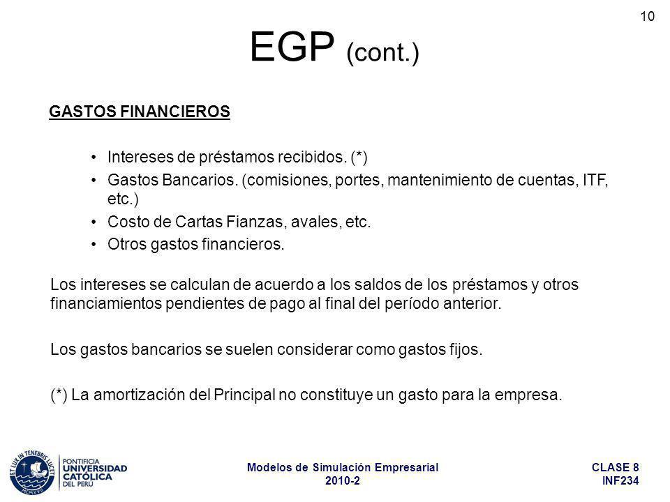 EGP (cont.) GASTOS FINANCIEROS Intereses de préstamos recibidos. (*)