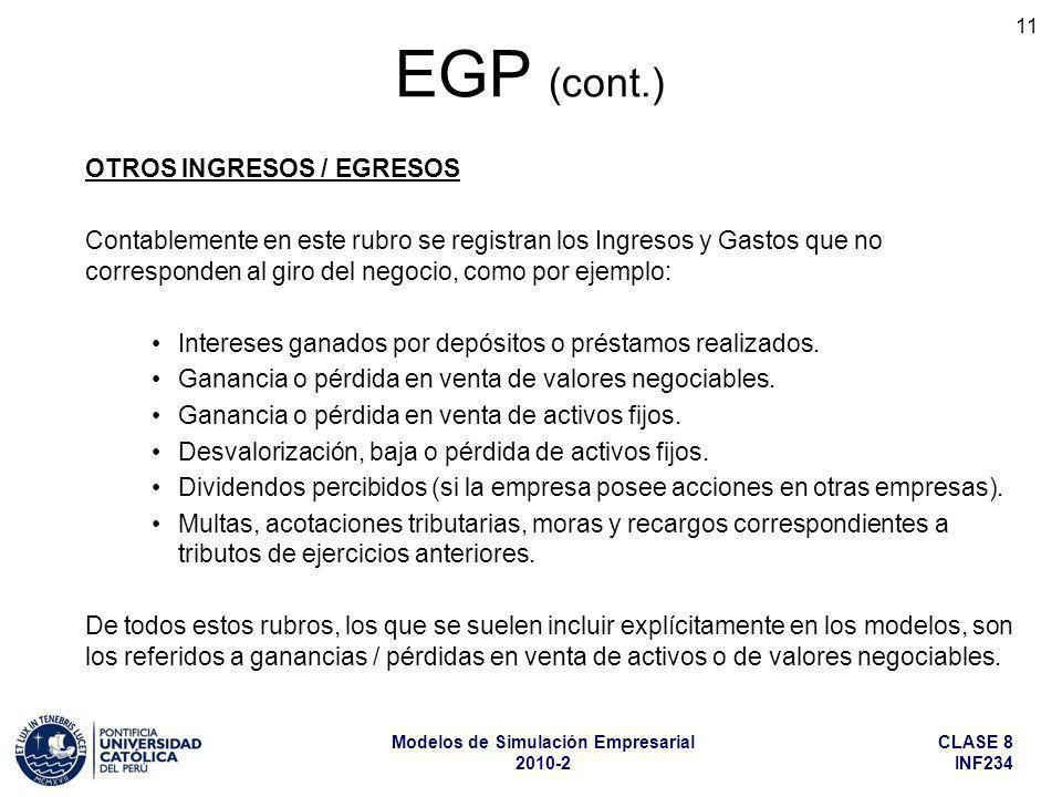 EGP (cont.) OTROS INGRESOS / EGRESOS