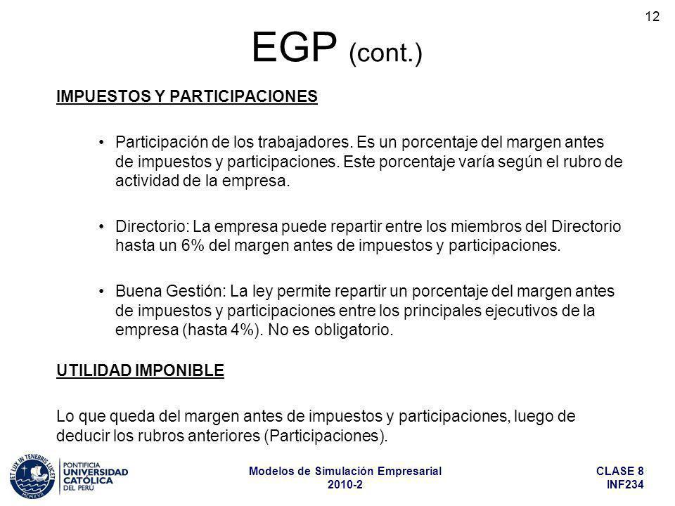 EGP (cont.) IMPUESTOS Y PARTICIPACIONES