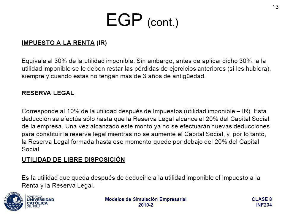 EGP (cont.) IMPUESTO A LA RENTA (IR)