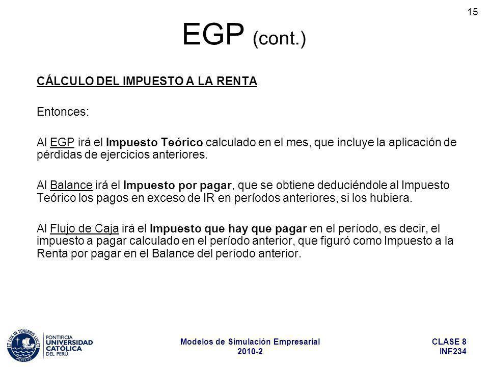 EGP (cont.) CÁLCULO DEL IMPUESTO A LA RENTA Entonces: